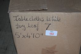Box: 7 white ivy leaf Table Cloths, each approx 5' x 4'10