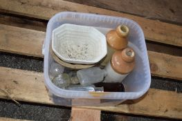 BOX CONTAINING VARIOUS KITCHEN SUNDRIES INCLUDING SALT GLAZED BOTTLES, JELLY MOULDS, MINIATURE GLASS