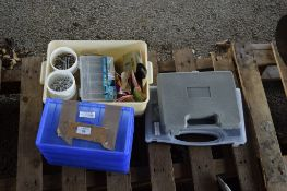 SMALL SELECTION OF IRONMONGERY, PLASTIC TOOL BOXES ETC