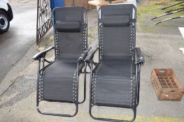 PAIR OF METAL FRAMED RECLINER CHAIRS