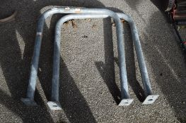 TWO GALVANISED HAND RAILS, EACH APPROX 80CM