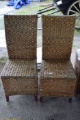 PAIR OF WOVEN WICKER CONSERVATORY CHAIRS