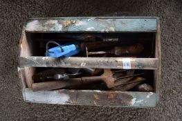 WOODEN TOOL BOX AND CONTENTS