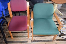 TWO WOODEN FRAMED OFFICE SIDE CHAIRS