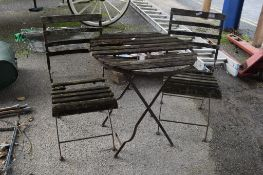 WOOD AND METAL TWO-SEAT BISTRO PATIO TABLE SET COMPRISING TWO CHAIRS AND TABLE (A/F)