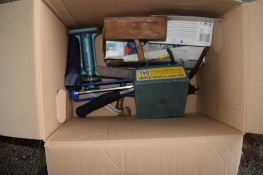 BOX CONTAINING TOOLS INCLUDING BOXED RECORD PLANE, BLOCK PLANE, HAMMER ETC