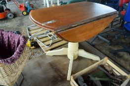PART PAINTED SINGLE PEDESTAL CIRCULAR FOLDING TABLE