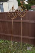PAIR OF DECORATIVE GARDEN ORNAMENTS FORMED AS BALLS ON STICKS, EACH APPROX 155CM