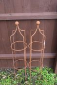 PAIR OF SMALL GARDEN OBELISKS WITH BALL SHAPED FINIALS, EACH APPROX 102CM
