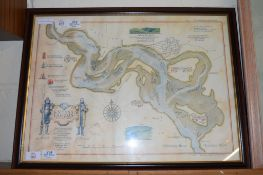 PRINT OF A MAP OF A LAGOON