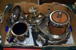 BOX CONTAINING VARIOUS PLATED WARES INCLUDING A BISCUIT BARREL WITH HORSE FINIAL