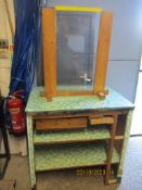 VINTAGE GLASS TOPPED SHOP COUNTER, 96CM WIDE, TOGETHER WITH PIE-FRAMED AND GLAZED SCREEN