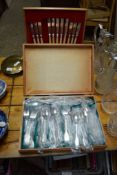 TWO BOXES OF PLATED CUTLERY, FISH KNIVES AND FORKS ETC