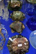 CARNIVAL GLASS DISHES, MAINLY GREEN OR SILVER COLOUR