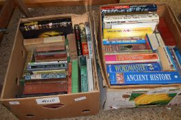 TWO BOXES OF BOOKS, VARIOUS REFERENCE BOOKS AND NOVELS