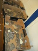 THREE BOXES CONTAINING VARIOUS VINTAGE HANDLES AND ANTIQUE ESCUTCHEONS ETC