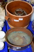 LARGE POTTERY JARDINIERE WITH TWO-TONE BROWN DESIGN, AND GLASS JAR AND COVER TOGETHER WITH A
