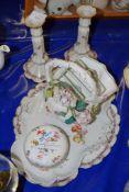 CERAMICS INCLUDING A LOBED SERVING DISH, PAIR OF CANDLESTICKS ETC