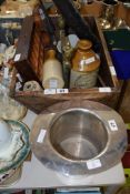 SILVER METAL MODEL OF A TOP HAT AND BOX CONTAINING VARIOUS POTTERY ITEMS INCLUDING A BARREL FROM