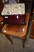 ITALIAN REPRODUCTION WORK TABLE AND A SMALL MODERN FOOT STOOL FITTED WITH TWO DRAWERS, 52 AND 30CM