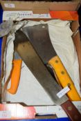 BOX CONTAINING VARIOUS BUTCHERS KNIVES