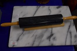 MARBLE BOARD WITH ROLLING PIN ON WOODEN MOUNTS