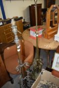 TWO VICTORIAN/EARLY 20TH CENTURY METAL/BRASS LAMP STANDARDS, 135 AND 151CM HIGH