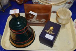 BELLS WHISKY BELL AND A ROYAL WORCESTER EGG CODDLER ON TRAY AND OTHER ITEMS