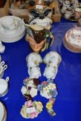CERAMICS INCLUDING VASES AND FLOWERS BY ROYAL STAFFORD AND A ROYAL DOULTON TOBY JUG OF ROBIN HOOD