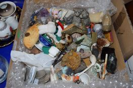 BOX CONTAINING CHINA AND OTHER ITEMS INCLUDING OLD COINS, SOME CHURCHILL CROWNS