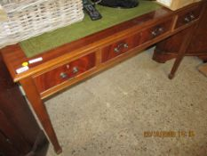 REPRODUCTION MAHOGANY DESK WITH GREEN TOOLED LEATHER INSET, 122CM WIDE