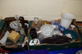 BOX CONTAINING DECANTER AND DECIMAL COINAGE ETC