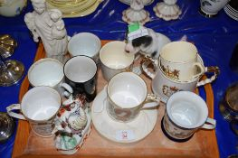 TRAY CONTAINING COMMEMORATIVE CHINA AND OTHER ITEMS