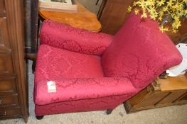 RED UPHOLSTERED EASY CHAIR