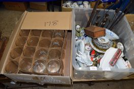 GROUP OF GLASSES AND BOX CONTAINING VARIOUS CHINA ETC