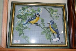 TAPESTRY OF TWO BIRDS ON A BRANCH