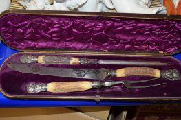 CASED SET OF CARVING KNIFE, FORK AND SHARPENER WITH BONE HANDLES