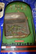 PIN FOOTBALL GAME AND OLD BISCUIT TIN CONTAINING METAL MODELS OF WWII AIRCRAFT