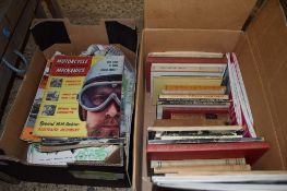 TWO BOXES OF VARIOUS BOOKS AND MAGAZINES INCLUDING MOTORCYCLE MECHANICS