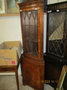 REPRODUCTION FULL HEIGHT GLAZED TOP CORNER CUPBOARD, 186CM HIGH