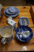 "GROUP OF PEARL WARES INCLUDING PEARL WARE MUG WITH INITIALS ""WEIJL"" ON A DELFT STYLE BRICK AND OTHER"