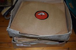 BOX CONTAINING OLD HMV RECORDS