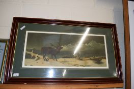 LARGE VICTORIAN LANDSEER CHROMOLITHOGRAPH OF A STAG IN A MOUNTAINOUS LANDSCAPE