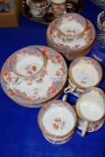 PART CAULDON TEA SET WITH SIX CUPS AND SAUCERS AND SIDE PLATES AND MILK JUG