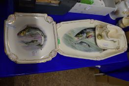 GROUP OF CONTINENTAL CHINA DECORATED WITH FISH INCLUDING SET OF 12 QUATRELOBE SHAPED DISHES WITH