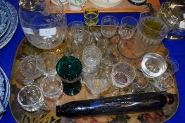 TRAY CONTAINING GLASS ROLLING PIN AND OTHER GLASS WARES