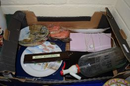BOX CONTAINING CERAMIC ITEMS AND A GLASS SODA DECANTER