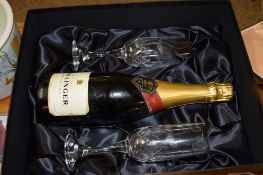 BOTTLE OF BOLINGER CHAMPAGNE AND TWO CHAMPAGNE GLASSES, BOTH WITH THE BENTLEY LOGO