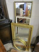 FOUR VARIOUS GILT AND OTHER WALL MIRRORS