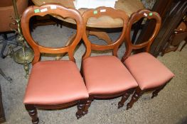 THREE VICTORIAN BALLOON BACK DINING CHAIRS